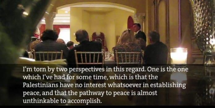 Mitt Romney taler på middagen for store bidragsytere i valgkampen. Mother Jones har publisert videoopptak som ble gjort med skjult kamera.