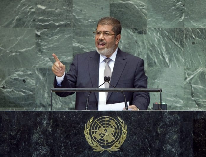 For første gang talte Egypts president Mohammed Morsi til FNs generalforsamling, 26. september 2012. (Foto: Marco Castro, UN Photo)