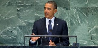 President Barack Obama talte til FNs generalforsamling tirsdag 25. september. (Foto: Marco Castro, FN)