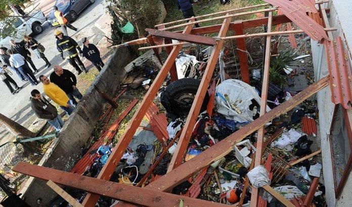 En israelsk bygning skadet av en terrorrakett fra Gaza-stripen. (Arkivfoto: GPO)