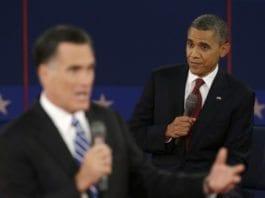 Presidentkandidatene Mitt Romney (f.v.) og Barack Obama. Fra den andre av de totalt tre fjernsynsdebattene mellom dem i denne valgkampen. (Foto: flickr.com)