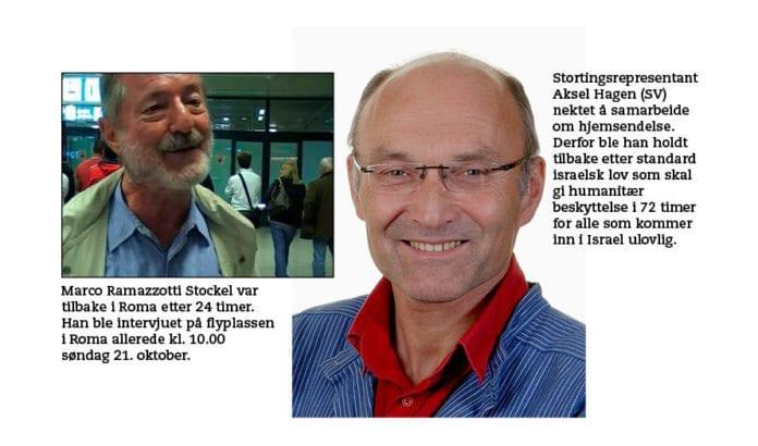 Marco Ramazzotti Stockel og Aksel Hagen (SV) kom begge til havn i Ashdod lørdag kveld. Allerede søndag morgen var italieneren hjemme i Roma. Aksel Hagen måtte vente i tre døgn fordi han nektet å samarbeide med israelske myndigheter.