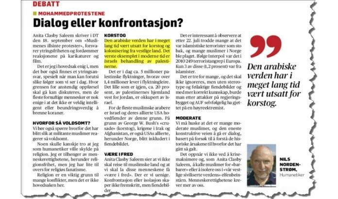 Nils Nordenstrøms innlegg i Drammens Tidende 8. oktober 2012.