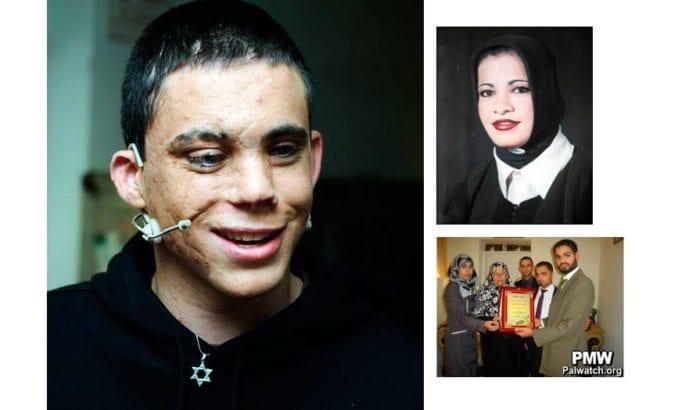 Oren Almog (t.v.) var ti år gammel da Hanadi Jaradat utløste sine eksplosiver på Maxim-restauranten i Haifa 4. oktober 2003. Almod ble varig blind og mistet to av sine besteforeldre, sin far, sin bror og sin kusine i eksplosjonen. Denne måneden har Den arabiske advokatforeningen æret terroristen Jaradat.