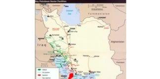Kartet viser de viktigste oljefeltene og oljeinstallasjonene i Iran i år 2004. (Kart: CIA, Wikipedia)