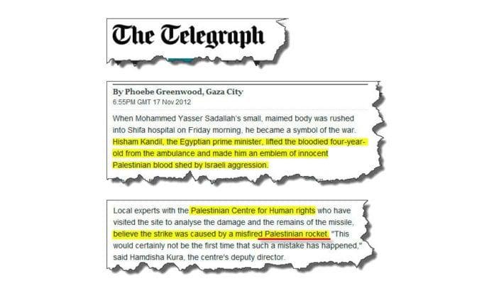 Skjermdump fra den britiske avisen The Telegraph lørdag 17. november 2012.