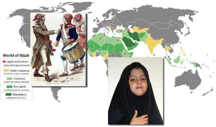 Kartet viser status for hijab-bruk og land med restriksjoner i år 2008. Oppe til venstre er eksempel på hodeplaggene og konkardene som ble brukt av franske revolusjonære på 1790-tallet. (Kilde: Wikimedia Commons)