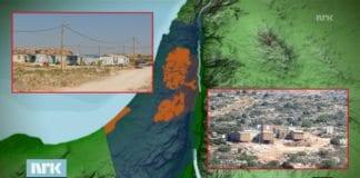 De åtte brakkene i utposten Nahalei Tal (t.h.) og de fem brakkene i utposten Tzofim North (t.v.) er med på å knuse drømmen om en palestinsk stat, ifølge NRK Dagsrevyen. (Kart er skjermdump fra NRK, utpostbilder fra Peace Now, montasje MIFF)