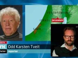 Skjermdump fra NRK Dagsrevyen søndag 18. november 2012. Innfelt til høyre er korrespondent Sigurd Falkenberg Mikkelsen.
