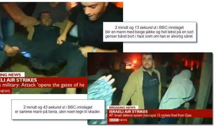 Velkommen til Pallywood! Skjermdump fra BBC-innslag 14. november 2012.