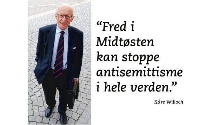 Kåre Willoch holder Israel og/ eller Israels påståtte mangel på fredsvilje ansvarlig for antisemittisme over hele verden. (Foto: Høyre)