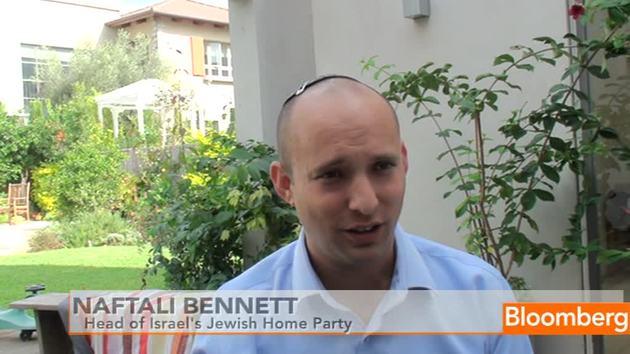 Foto: Skjermdump av Naftali Bennett, leder for Bayit Yehudi, under et intervju med Bloomberg.