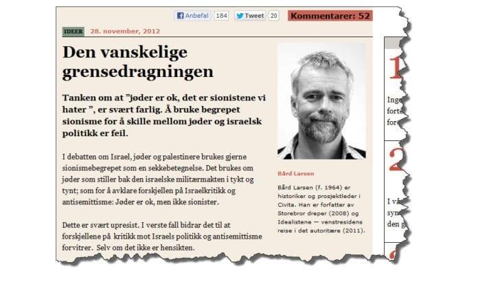 Skjermdump av Bård Larsens artikkel.