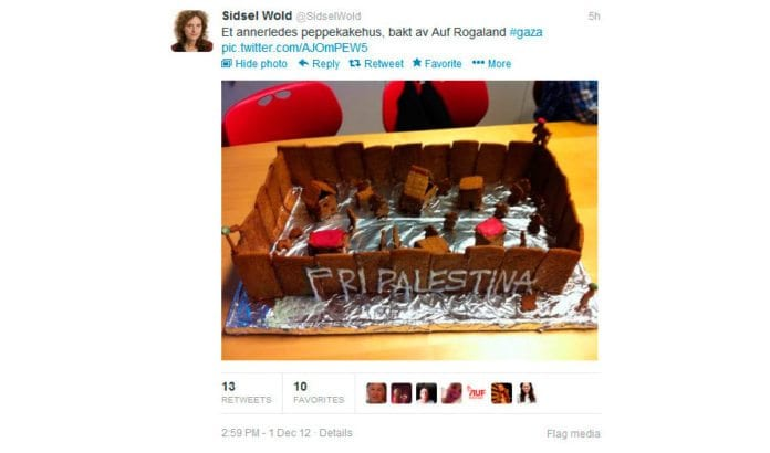 Skjermdump fra Sidsel Wolds Twitter-melding lørdag 1. desember 2012.