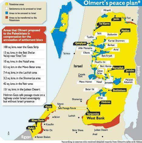 De blå områdene på kartet viser de viktigste områdene som ligger på vestsiden av sikkerhetsbarrieren på Vestbredden. Et flertall av jødene i Israel støtter fremdeles en grensedragning etter omtrent det samme kartet som Ehud Olmert la fram for Mahmoud Abbas høsten 2008. Abbas forkastet tilbud, selv om det ble tilbudt erstatningsområder (merket rødt) fra israelsk territorium.