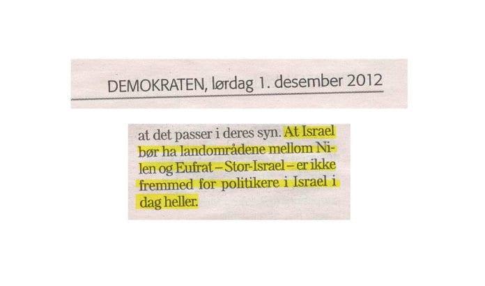 Faksmile fra Leif Andersens kronikk i avisen Demokraten 1. desember 2012.
