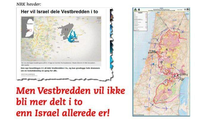 Skjermdump fra NRK.no oppe til venstre. Kartskissen fra CAMERA til høyre viser at Vestbredden ikke kommer til å bli delt av en utbygging i E1.