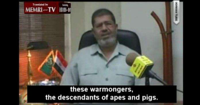 Slik formidlet Mohammed Morsi sitt syn på jødene i Israel i 2010. (Skjermdump via Memri)