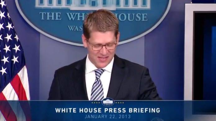 Pressetalsmann ved Det hvite hus, Jay Carney. (Foto: Utklipp av video fra Det hvite hus)