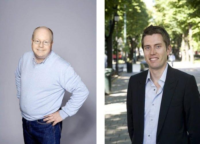 FrPs Morten Høglund (f.v.) og Høyres Peter Gitmark, begge representanter på Stortinget. (Foto: Montasje)
