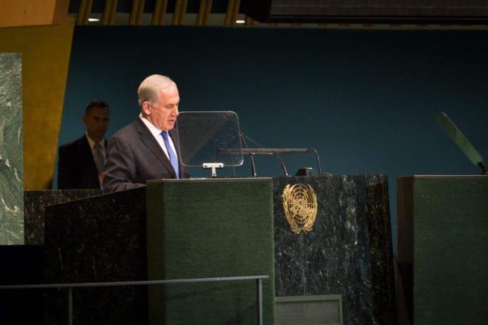 Statsminister Benjamin Netanyahu taler for FNs generalforsamling. (Foto: John Gillespie, UNIC)