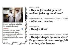 Skjermdump fra Dagsavisen.no og sitater fra journalist Kristoffer Gaarder Dannevig intervju med imam Nehmat Ali Shah i Central Jamaat-e Ahl-e Sunnat-moskeen.