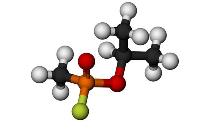 Kjemisk modell av nervegassen Sarin. (Grafikk: Wikimedia Commons)