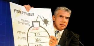 """Yair Lapid (bildet) spilte på statsminister Benjamin Netanyahus siste FN-tale under valgkampen, da han snakket om Israels """"virkelige tikkende atombombe"""": Galluperende avgiftsøkninger. (Foto: Yesh Atid)"""