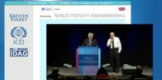 Foto: Skjermdump fra Oslosymposium.no, under direktesendingen av talen til Moshe Sharon.
