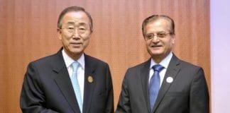 FNs generalsekretær Ban Ki-moon og Libanons utenriksminister Adnan Mansour. (Foto: Mark Garten, UN Photo)