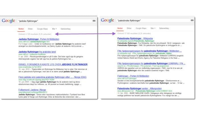 Skjermdump av Google-søk på uttrykkene