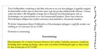 Faksmile av dommen i Forliksrådet.