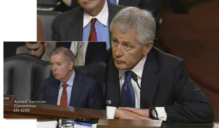 Senator Lindsey Graham (innfelt) stilte påtroppende forsvarsminister Chuck Hagel til veggs når det gjaldt anklager mot Israel-lobbyen.