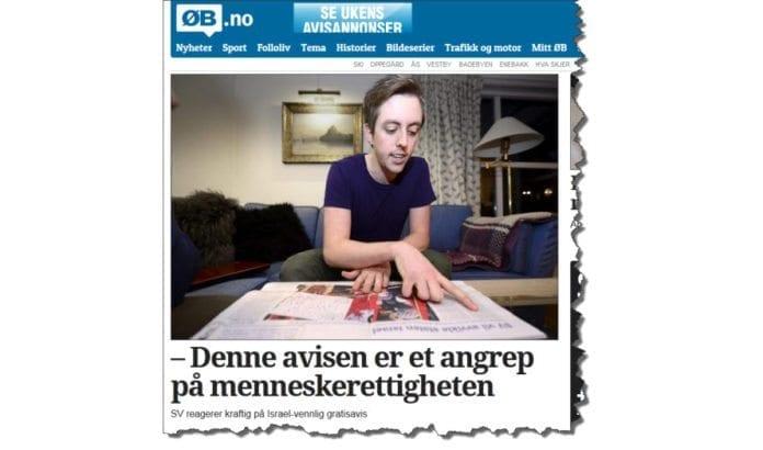 Nicolas Wilkinson i Oppegård SV liker ikke at MIFF avslører hva som blir blir konsekvensene av politikken SV støtter. Er det en menneskerettighet å holde dette skjult? (Skjermdump fra Østlandets Blad)