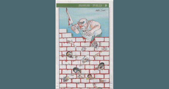 Karikaturtegningen som stod på trykk i Sunday Times 27. januar. Avisen har nå beklaget