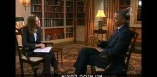 Den israelske journalisten Yonit Levy intervjuer president Barack Obama. (Skjermdump fra Kanal 2)