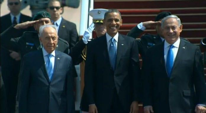 President Shimon Peres, president Barack Obama og statsminister Benjamin Netanyahu. (Skjermdump fra livestreaming fra israelske myndigheter)