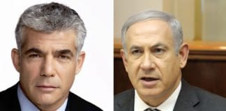Yesh Atid-leder Yair Lapid (f.h.) og Likuds partileder og statsminister Benjamin Netanyahu (Foto: Montasje av bilde fra Wikipedia (f.h.) og GPO)