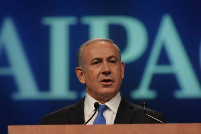 Israels statsminister Benjamin Netanyahu taler på AIPACs politiske konferanse i 2012. (Foto: GPO)