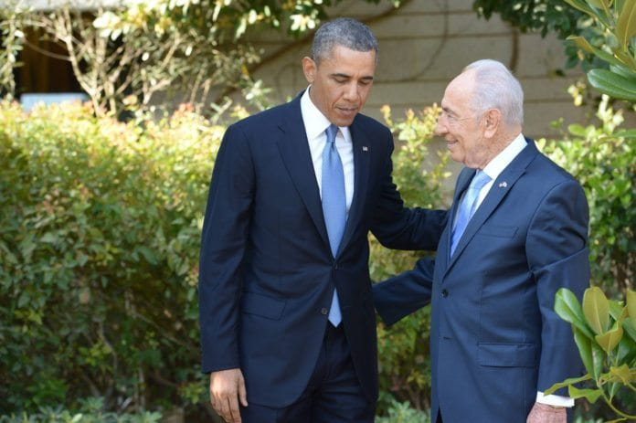 De to presidentene, Barack Obama (f.v.) og Shimon Peres. (Foto: GPO)