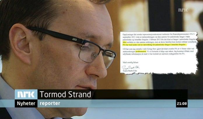 NRK-journalist Tormod Strand fortsetter å grave i saken om PAs lønn til terrorister. Torsdag 21. mars kommenterte utenriksminister Espen Barth Eide saken. Innfelt er brevet som utenriksministeren har sendt til Stortingets kontrollkomité.