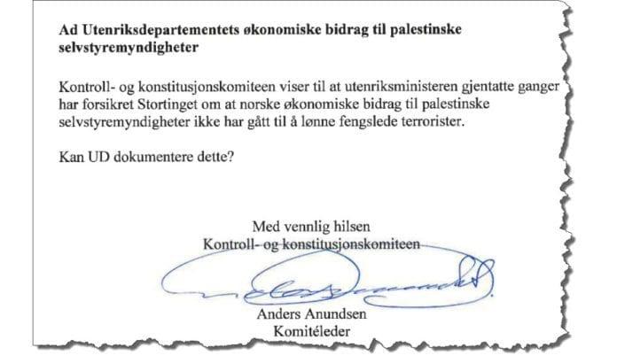 Faksmile av Kontrollkomiteens brev til utenriksministeren, sendt 5. mars 2013.