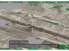 Skjermdump fra NRK Brennpunkt 12. mars 2013. Bildet er hentet fra et norsk F-16 som deltok i bombingen av Libya i 2011.