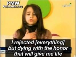 Den lille palestinske jenta Hadeel leser dikt som uttrykker drøm om martyrdøden på PA TV 22. mars 2013.