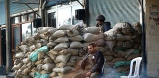 Sjekkpunkt for den syriske hæren i Douma. (Illustrasjon: Wikipedia)