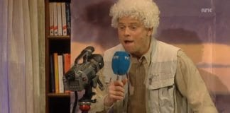 """Underholdningsavdelingen i NRK parodierte """"Odd Karsten Palestina Tveit"""" 13. april 2013. (Skjermdump fra NRK)"""