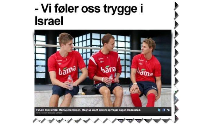 Landslagsspillerne sier til Aftenposten at de føler seg trygge i Israel. (Skjermdump fra Aftenposten.no)