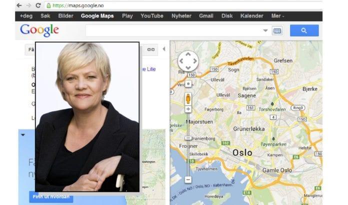 Kunnskapsminister Kristin Halvorsen vil for framtiden navigere etter andre kart enn Google Maps. (Foto: Rune Kongsro, regjeringen.no)