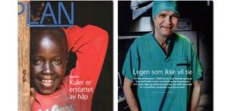 Faksmile av Plans magasin med én av de fire sidene som ble brukt på portrettintervjuet av Erik Fosse.