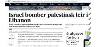 """Aftenpostens første overskrift lød slik: """"Israel bomber palestinsk leir i Libanon"""" (Skjermdump fra Aftenposten.no)"""